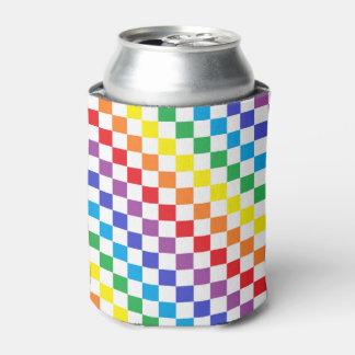チェック模様の虹 缶クーラー