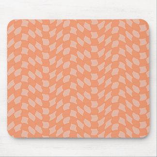 チェック模様の蜜柑の波パターン マウスパッド