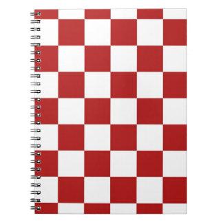 チェック模様の赤と白 ノートブック