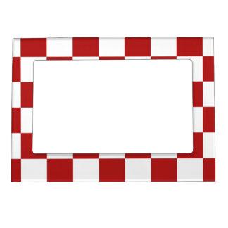 チェック模様の赤と白 マグネットフレーム