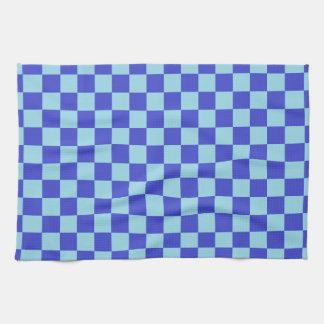 チェック模様の青 キッチンタオル