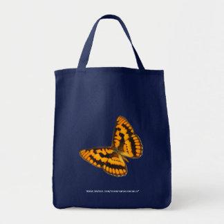チェック模様の飛ぶ人の蝶 トートバッグ
