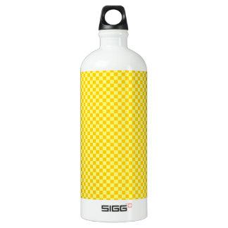 チェック模様の- Yellow1 -黄色および蜜柑の黄色 ウォーターボトル