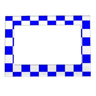 チェック模様-白および青 マグネットフレーム