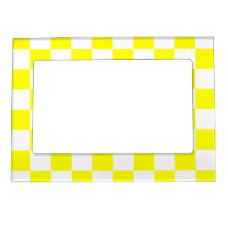チェック模様-白および黄色 マグネットフレーム