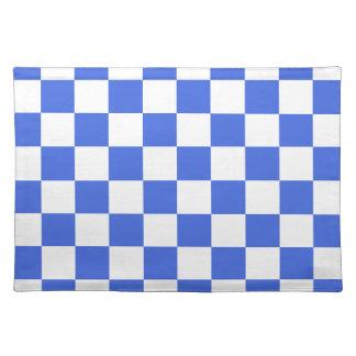 チェック模様-白く、ロイヤルブルー ランチョンマット