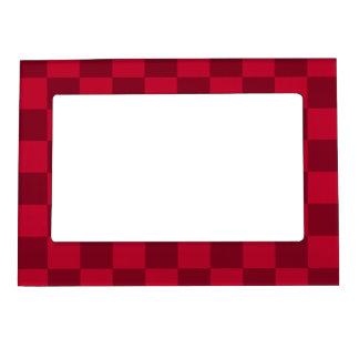 チェック模様-赤く、えんじ色 マグネットフレーム