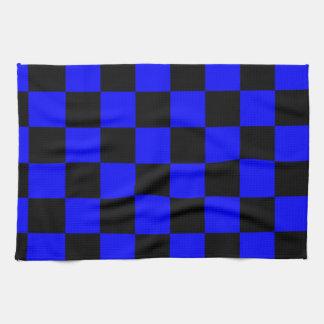 チェック模様-黒および青 キッチンタオル