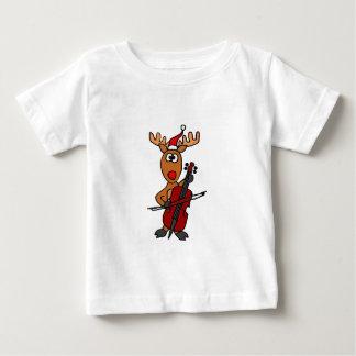 チェロのクリスマスを遊んでいるおもしろいなトナカイ ベビーTシャツ