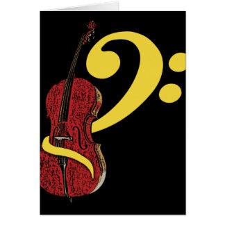 チェロのクレフ、音符記号の挨拶状 カード