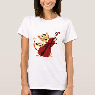 チェロの芸術の漫画を遊んでいるおもしろいな茶色のぶち猫 Tシャツ