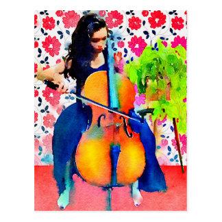 チェロ奏者の水彩画の郵便はがき ポストカード