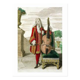 チェロ、出版されたc.1688-90を演奏している紳士( ポストカード