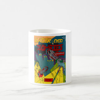 チェーンソーのマグを持つレーザー目のゾンビ コーヒーマグカップ