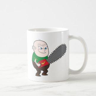 チェーンソーの漫画を持つ怒っている人 コーヒーマグカップ