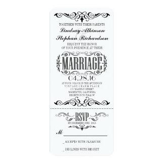 チケットの招待状を結婚するヴィンテージ カード