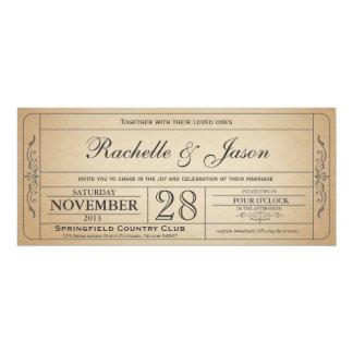 チケットの招待状を結婚するヴィンテージ 10.2 X 23.5 インビテーションカード
