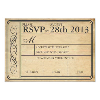 チケットRSVP IIのPunchoutを結婚するヴィンテージ 8.9 X 12.7 インビテーションカード
