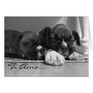 チタニウムAmoのボクサーの子犬の挨拶状 カード
