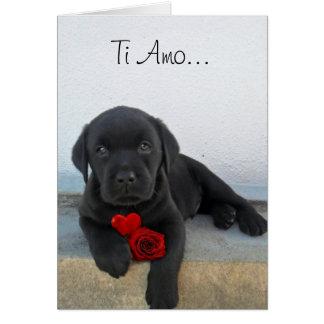 チタニウムAmoのラブラドールの子犬の挨拶状 カード