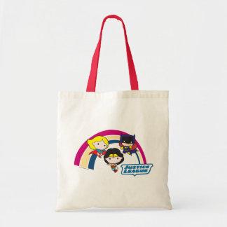 チビ(小さくかわいく書いた感じ)のジャスティス・リーグの虹 トートバッグ