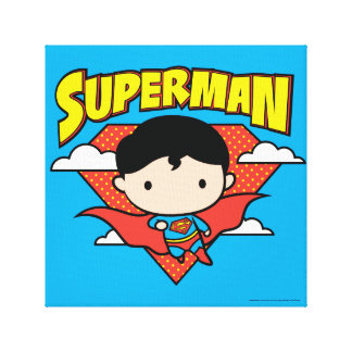 チビ(小さくかわいく書いた感じ)のスーパーマンの水玉模様の盾および名前 キャンバスプリント