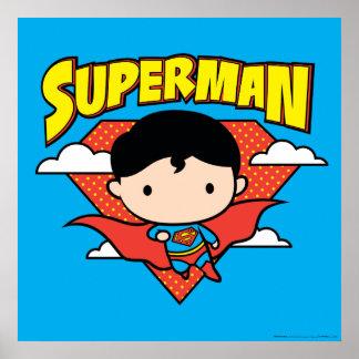 チビ(小さくかわいく書いた感じ)のスーパーマンの水玉模様の盾および名前 ポスター