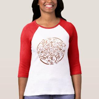 チビ(小さくかわいく書いた感じ)のトラの曼荼羅 Tシャツ