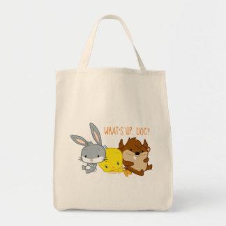 チビ(小さくかわいく書いた感じ)のバッグス・バニーの™、TWEETY™、及びTAZ™ トートバッグ