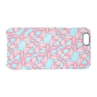 チビ(小さくかわいく書いた感じ)のピンクのアホロートルパターンChido クリアiPhone 6/6Sケース