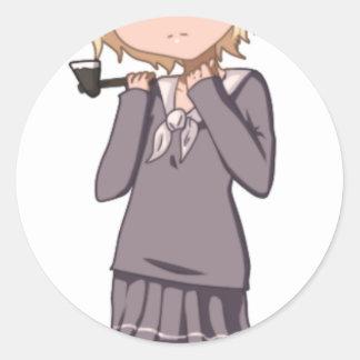 チビ(小さくかわいく書いた感じ)の学校の女の子 ラウンドシール