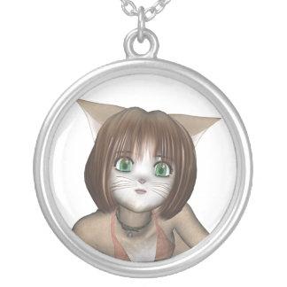 チビ(小さくかわいく書いた感じ)の日本製アニメの子ネコのネックレス シルバープレートネックレス