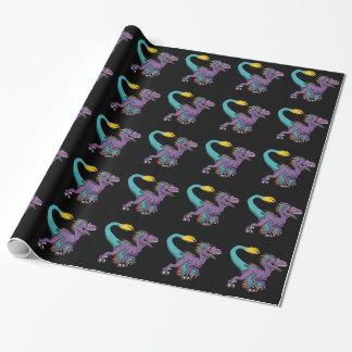 チビ(小さくかわいく書いた感じ)の紫色によって羽をつけられるヴェロキラプトル ラッピングペーパー