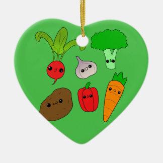 チビ(小さくかわいく書いた感じ)の野菜 セラミックオーナメント
