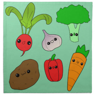 チビ(小さくかわいく書いた感じ)の野菜 ナプキンクロス