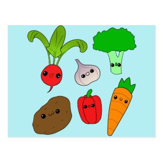 チビ(小さくかわいく書いた感じ)の野菜 ポストカード