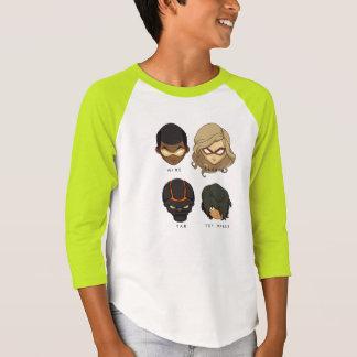 チビ(小さくかわいく書いた感じ)の高圧3/4枚のスリーブを付けられたワイシャツ(ライムグリーン) Tシャツ