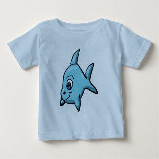 チビ(小さくかわいく書いた感じ)の鮫のワイシャツ ベビーTシャツ