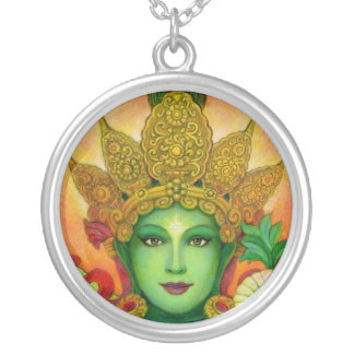 チベットの仏教の女神の緑のタラの円形のネックレス シルバープレートネックレス