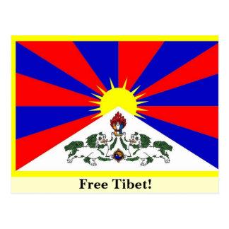 チベットの旗-自由なチベット! ポストカード