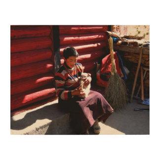 チベットの男の子 ウッドウォールアート