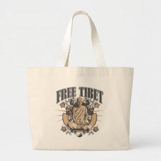 チベットの自由な修道士 ラージトートバッグ