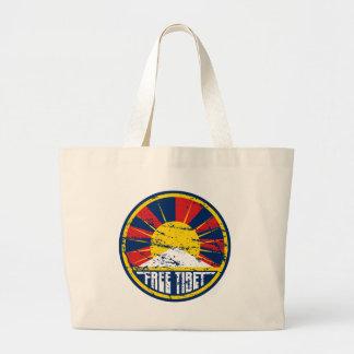 チベットの自由な円形のグランジ ラージトートバッグ