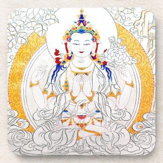 チベットの芸術を絵を描くTHANGKA コースター
