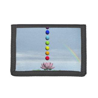 チャクラおよび虹- 3Dは描写します ナイロン三つ折りウォレット