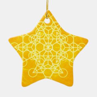 チャクラの曼荼羅の神聖な幾何学の明るい黄色 セラミックオーナメント