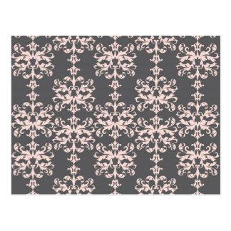 チャコールグレーのダマスク織パターンで淡いピンク ポストカード
