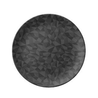 チャコールグレーの抽象芸術のモザイク模様 磁器プレート