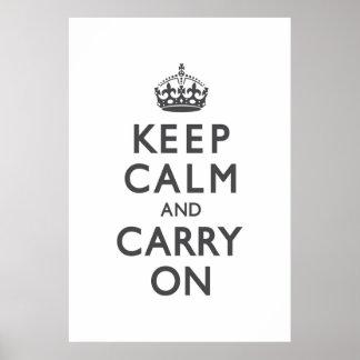 チャコールグレーのKeep Calm and Carry On ポスター