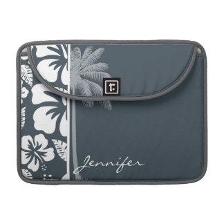 チャコールグレー、灰色の熱帯ハイビスカス; やし MacBook PROスリーブ
